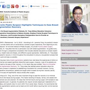Toronto plastic surgery, breast augmentation, Keys to a Smoother Breast Augmentation Recovery, Toronto plastic surgeon, Dr. Lawrence Tong
